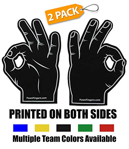 Foam Hand Fingers for Sports - Fans Tailgating Parties - Frat Parties Basketball Football Baseball College Hockey Cheering - 3 Point Goggle Okay Sign Circle Game Ballgazer Ballbuster ()