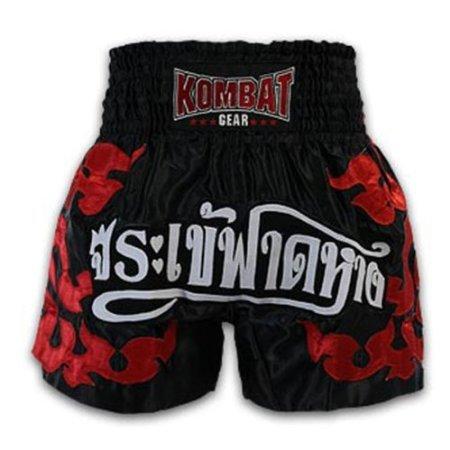 Kombat Muay Thai Boxing Black Satin Red Kanok Shorts 2117 (XL)
