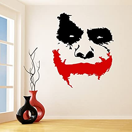 39 X 33 Vinyl Wall Decal Scary Joker Face Why So Serious Movie Batman The Dark Knight Removable Decor Sticker Mural Free Random Decal