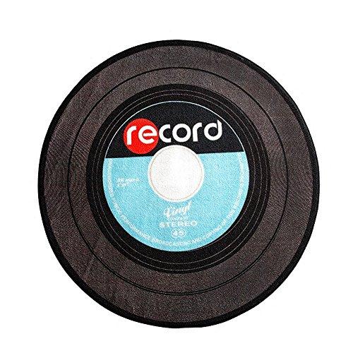 Wolala Home Unique Retro Music Record Round Area Rug Simple Fashion Study Bedroom Non-Slip Mat Thin Black (3'3x3'3)