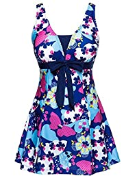 Ecupper Women's One-Piece Shaping Body Swimsuit Floral Plus Size Bathing Suit