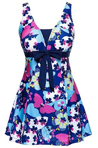 Ecupper Womens One Piece Plus Size High Waist Shapping Body Printed Swimdress with Boyshort Dark Blue US 26W-28W