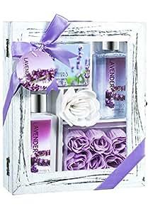 Lavender Spa Bath Gift Set in Distress White Wood Curio