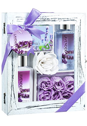 Bath and Body Beauty Kit Gift Set Lavender Aromatherapy Spa & Wellness Scent ,Bath & Shower Set Includes: Lavender Lotion, Shower Gel, Lavender Bath Salts, Lavender Rose Soap, in Gift Box
