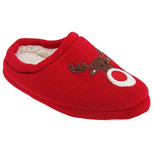 Pantofole Universali Di Mule Rudolph Di Natale Delle Donne Tessili / Delle Signore Rosse