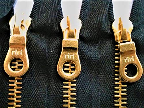 - RiRi Zipper 7 Inches 8mm Brass Teeth Closed Bottom Non-Separating - Black for Pockets, Wallets, Purses, Bags, Jeans, Pockets, and More!