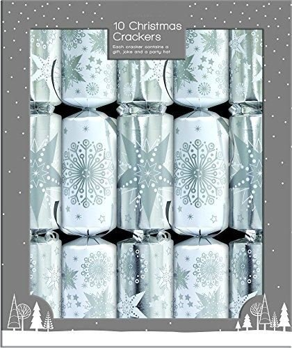 """Christmas Crackers 10 Silver and White 12/"""" Family Xmas Party Traditional Table"""