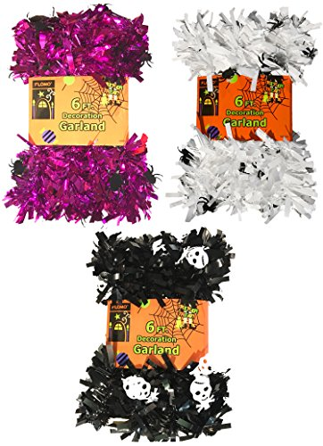 Halloween Tinsel Garland Decorations- 6 Feet (Purple, White & Black) (Spiders & (Holoween Decorations)