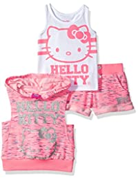 Hello Kitty girls 3 Piece Yarn Dye Hooded Short Set With Sugar Glitter
