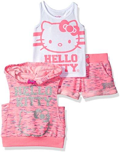 Hello Kitty Big Girls' 3 Piece Sleeveless Hoodie Short Set, Pink, 12