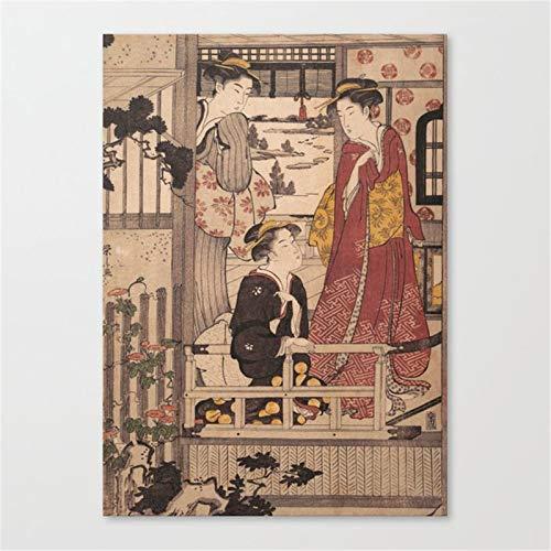 Geisha Japonesa Cuadro de Pintura al oleo por numeros, Pintado a Mano, Lienzo de Pared para Sala de Estar, decoracion del hogar40x60cm Marco DE Bricolaje