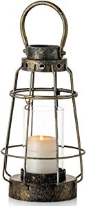 Nuptio Vintage Candle Lanterns Decorative with Handle Rustic Portable Pillar Candle Holder with Glass Wrought Iron Farmhouse Lantern for Wedding Party Centerpiece Garden Decor Indoor Outdoor Use