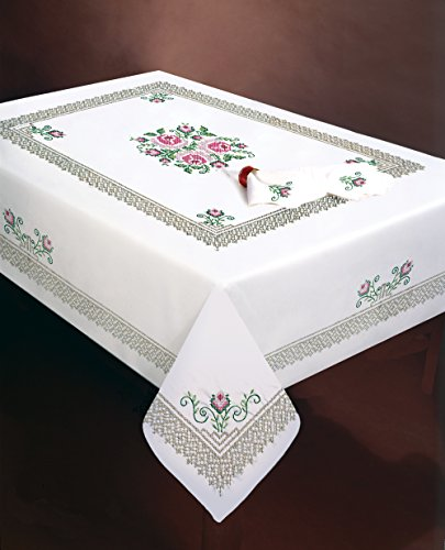 Design Works Crafts Stamped Embroidery Roses and Lace Tablecloth, 50 by 70""