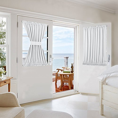 NICETOWN Patio Door Curtain Panel - Thermal Window Treatment Room Darkening French Side Door Panel Privacy Thick Window Curtain (1 Panel, 54 inches Wide x 40 inches Long, Platinum-Greyish White)