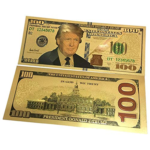 Peyan 10Pcs USA President Donald Trump 100 Dollars Gold Foil Banknote for Collection Commemorative 45th President of USA
