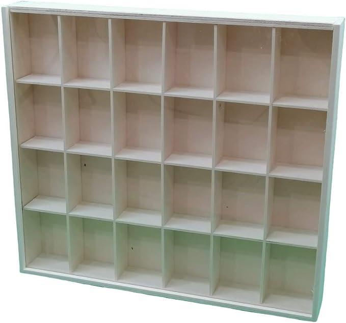 Vitrina colecciones puerta corredera de metacrilato. Medidas: 42 * 47 * 6.5 cms. En madera natural, se puede pintar.: Amazon.es: Hogar