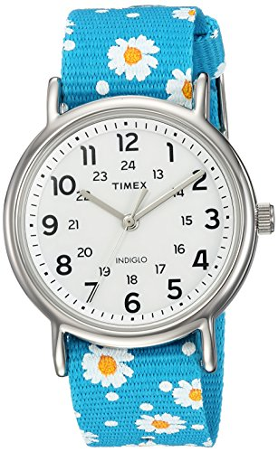Timex Women's TW2R24000 Weekender Blue Floral Reversible Nylon Slip-Thru Strap Watch