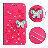 Cfrau Diamond Case with Black Stylus for iPhone X,Luxury Magnetic Crystal 3D Handmade Butterfly Flower Bling Stand Wallet PU Leather Shockproof Case for iPhone X/XS,Hot Pink