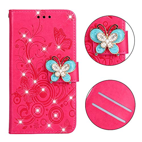 Maoerdo iPhone XR Case,Embossed Butterfly Flowers Wallet [Bracket Chuck] 3D Handmade Bling Crystal Diamond PU Leather Shockproof Protective Cover for Apple iPhone XR - Rose red
