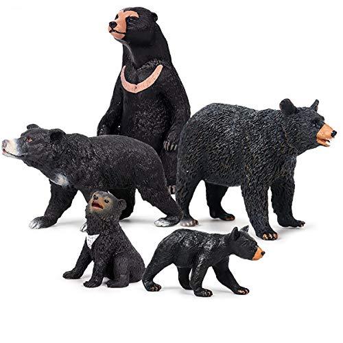 Kolobok - Safari Animals Action Figures - Sun Bears and Asian Bears - Zoo Animals Family - 5 pcs