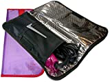 Designs In July Hair Straightener Heat-Resistant Travel Case. Portable Flat Iron Protector In Stylish Cute Colors. Curling Iron Storage. Color Options. (Black & Purple 2-Pack)