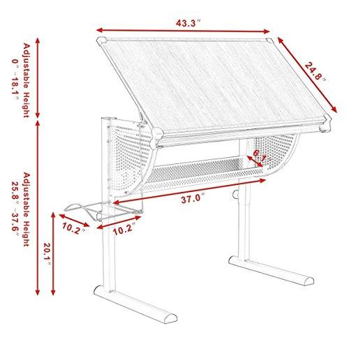 Tangkula Drafting Table Drawing Desk Adjustable Art & Craft Hobby Studio Architect Work