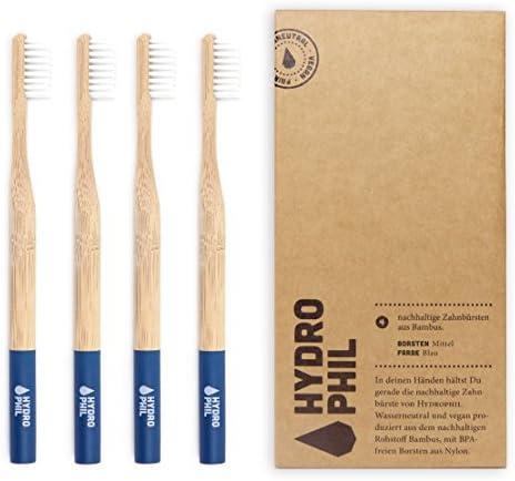 HYDROPHIL nachhaltige Zahnbürste aus Bambus blau extraweich 4er Pack weich