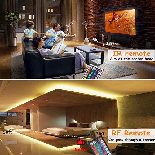 Targherle-Led-Strip-Lights-Led-Light-Strip-DC12V-33Ft10M-300leds-Waterproof-IP65-5050-SMD-RGB-LED-Flexible-Strip-Light-with-44key-RF-Remote-Controller-Double-Sided-Foam-Tape-and-5A-Adapter