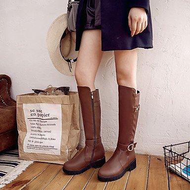 Heart&M Damen Stiefel Komfort Kunstleder Herbst Winter Normal Kleid Reißverschluss Blockabsatz Weiß Schwarz Braun 2,5 - 4,5 cm black