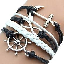 Changeshopping Handmade Adjustable Rudder Anchor Charms Multilayer Bracelet Wristband