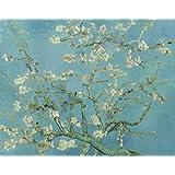 Niik Quadro + Telaio Bordo Colorato Mandorlo in Fiore di Vincent Van Gogh, 60 x 47.5 x 1.7 cm, Falso d'Autore