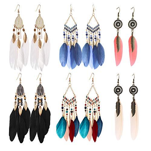 6 Pairs Vintage Bohemian Fringe Earrings Tassel Feather Dream Catcher Beeded Long Drop Dangle Earrings Set for Women Girls