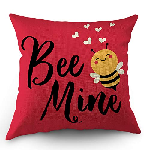 (Moslion Love Bee Pillow Cover Cute Cartoon Animal with Quote Bee Mine Heart for Valentine's Day Throw Pillow Cover 18x18 Inch Cotton Linen Decorative Square Cushion for Sofa Bed)