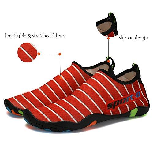 Lxso Männer Frauen Wasser Schuhe Multifunktionale Quick-Dry Aqua Schuhe Leichte Schwimmschuhe Mit Entwässerung Löcher rot