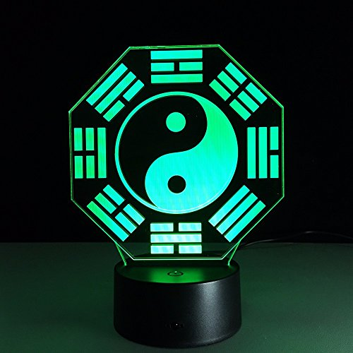 Ocho Light 3 (3D remote control Night Light Lamps,LED Optical Illusion light,5 Colors Table Bluetooth Speaker Touch Desk Lamp,Parties Decoration ambience lamp,Holiday gifts Visual lights(Tai Chi Ocho Diagramas))