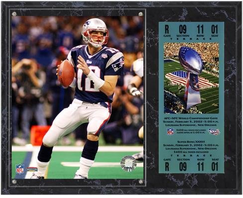 New England Patriots Super Bowl XXXVI Tom Brady Plaque with Replica Ticket - Fanatics Authentic Certified