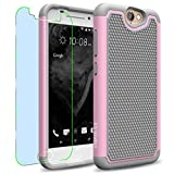 HTC One A9 Case, INNOVAA Smart Grid Defender Armor Case W/ Free Screen Protector & Touch Screen Stylus Pen - Grey/Light Pink
