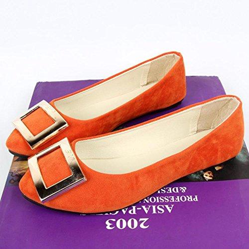 LvYuan Mujeres / Piso / Suede / Oficina & Carrera / talón plano / Comfort Outdoor Casual fashion / Mocasines y Slip-Ons / Walking zapatos perezoso Orange