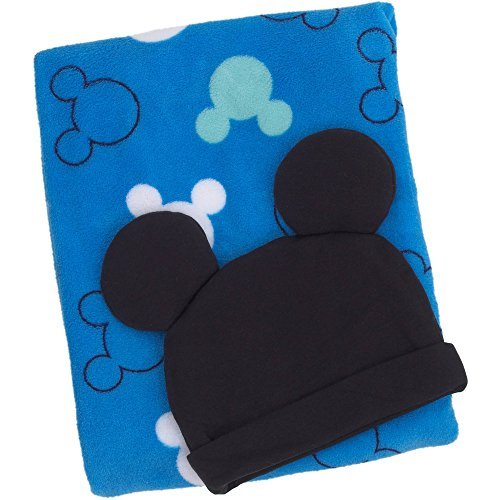 Adorable Disney Baby Mickey Mouse Blanket/Beanie Gift Set by Mickey Mouse Blanket