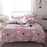 HIGHBUY 100% Premium Cotton Cat Print Kids Duvet Cover Set Twin Pink Reversible Cartoon Love Hearts Children Boys Bedding Cover Sets 3 Piece Zipper Closure for Twin Bed,Zipper Closure,4 Corner Ties