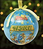 Set of 6 Rejoice Holy Family Angel Reindeer Decoupage Christmas Ornament