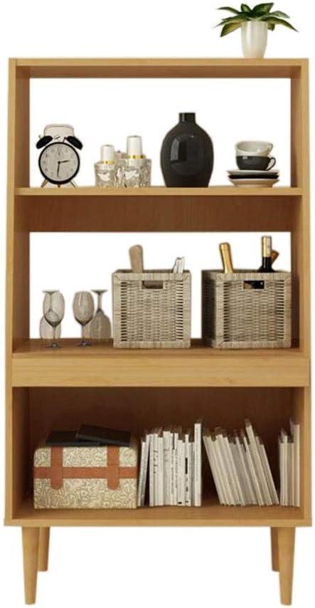 Virod 本棚木製の本棚プッシュプルプレート立ち棚オーガナイザーコレクションCD、レコードDIYの正方形の棚 (Color : Wood, Size : 24.56*7.63*44.29in)