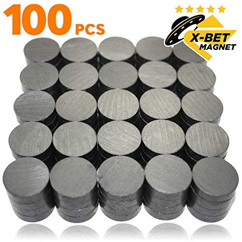 X-bet MAGNET TM 100 pcs Ceramic Magnets - Tiny 18 mm (.709 inch) Round Disc - Flat Circle Magnets Bulk for Crafts, Science & Hobbies - Perfect for Refrigerator, Whiteboard, - Magnets Bet