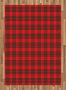 Red Area Rug by Lunarable, Red and Black Plaid Pattern Scottish Striped Tartan Traditional Graphic Illustration, Flat Woven Accent Rug for Living Room Bedroom Dining Room, 5.2 x 7.5 FT, Red Black