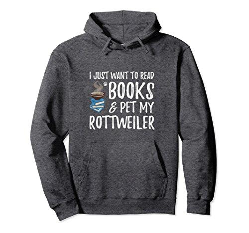 Unisex Book and Rottweiler Hoodie for Rottweiler Dog Mom Medium Dark Heather (Sweatshirt Rottweiler Adult)