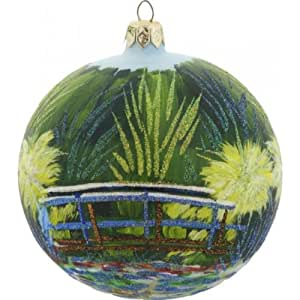 Monet The Japanese Bridge Polish Glass Christmas Ball Ornament