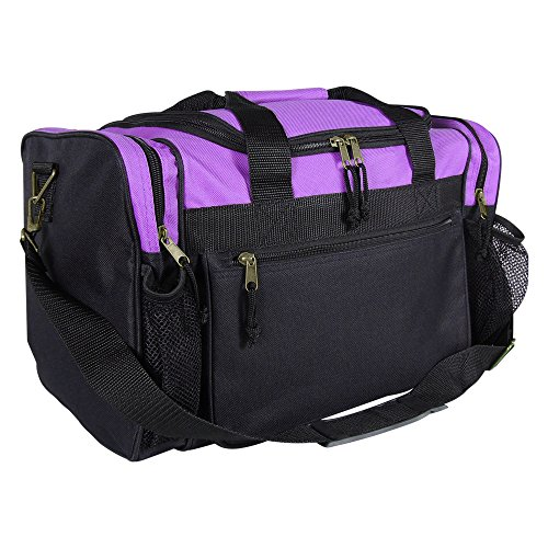 """DALIX 17"""" Duffle Travel Bag with Front Mesh Pockets in Purpl"""