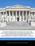 Higher Education: School's Use of the Antitrust Exemption Has Not Significantly Affected College Affordability or Likelihood of Student Enrollment to Date, , 1240706405