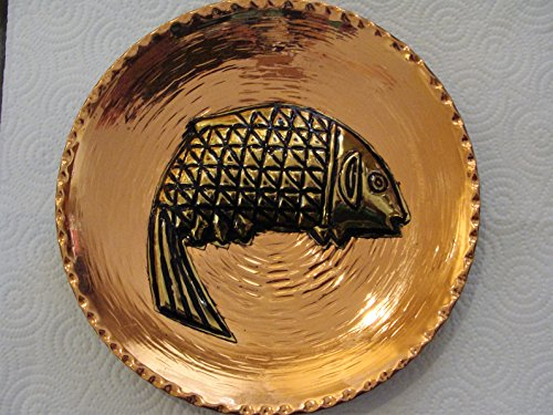 Artisan Made Decorative Copper Fish Plate Hand Tooled Hammer