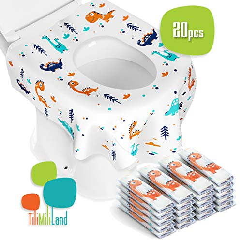Toilet Seat Covers Disposable - 20 Pack Individually Wrapped Large Size, Perfect for Travel, Home Use, Potty Training, Kids and Adults